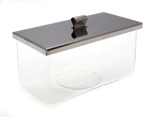 Large Glass Trough With Stainless Steel Lid