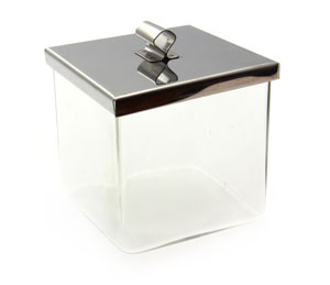 Small Glass Trough With Stainless Steel Lid